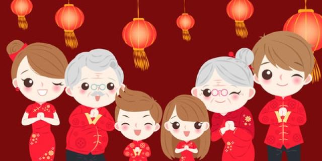 chinese new year families cartoon