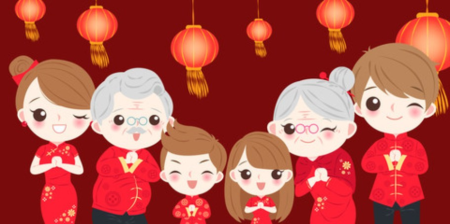chinese new year families cartoon