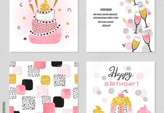 Happy Birthday Cards Set In Pink And Golden Colors Celebration
