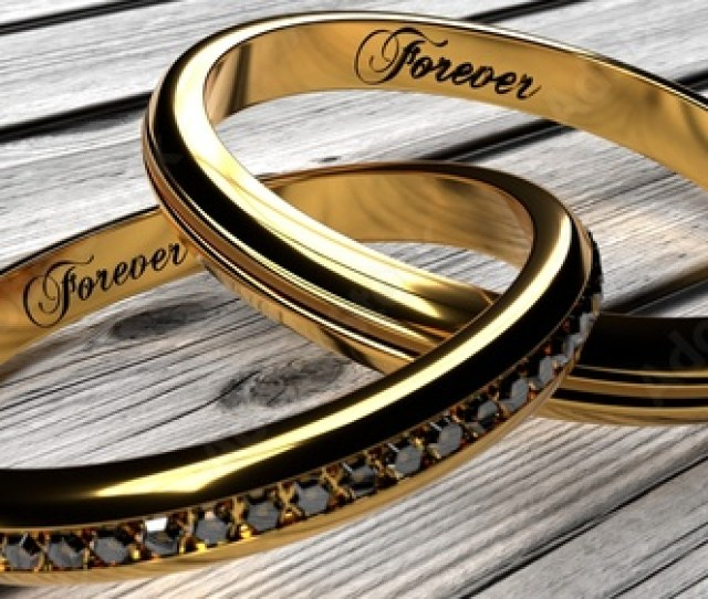 Forever Together In Marriage Or Relationship Two Joined Inseparable Golden Rings With A Word