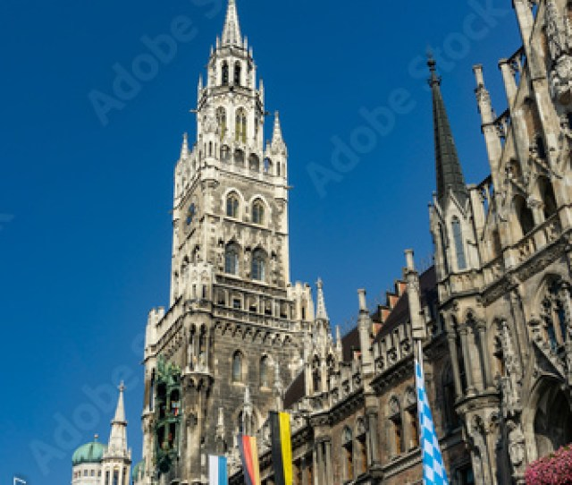 The Clock Tower Of The New City Hall Rathaus In Marienplatz Is A Famous