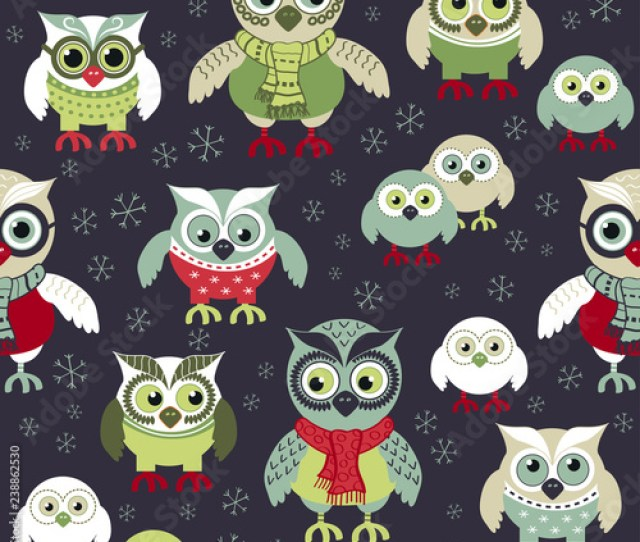 Hand Drawn Owls Seamless Christmas Pattern Owls At Night Seamless Background Vector Background For