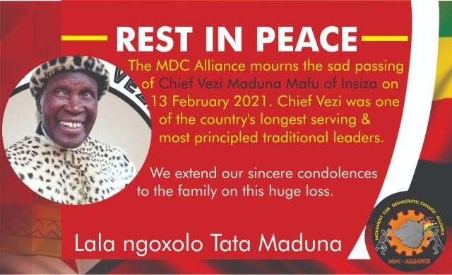 MDC Alliance Mourns Chief Maduna