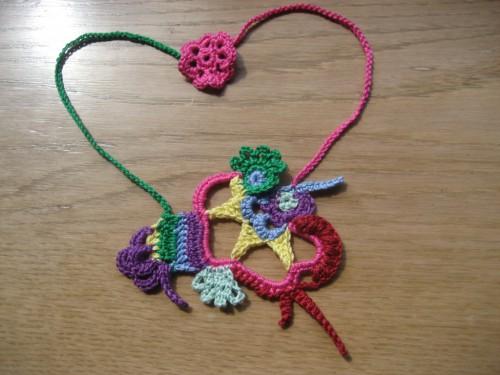 freeform crochet, collana, cotone