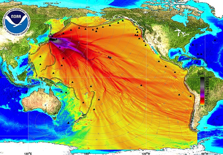 An energy map provided by the National Oceanic and Atmospheric Administration (NOAA) shows the intensity of the tsunami in the Pacific Ocean caused by the magnitude 8.9 earthquake which struck Japan on March 11, 2011. Thousands of people fled their homes along the Pacific coast of North and South America on Friday as a tsunami triggered by Japan's massive earthquake reached the region but appeared to spare it from major damage. REUTERS/NOAA/Center for Tsunami Research/Handout (UNITED STATES - Tags: DISASTER ENVIRONMENT) FOR EDITORIAL USE ONLY. NOT FOR SALE FOR MARKETING OR ADVERTISING CAMPAIGNS. THIS IMAGE HAS BEEN SUPPLIED BY A THIRD PARTY. IT IS DISTRIBUTED, EXACTLY AS RECEIVED BY REUTERS, AS A SERVICE TO CLIENTS