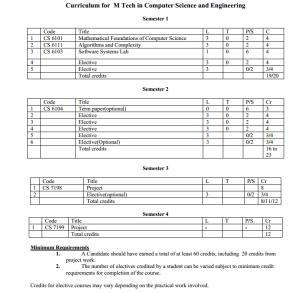 Curriculum for NITC MTech CSE