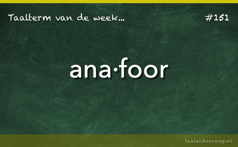 Taalterm van de week: Anafoor