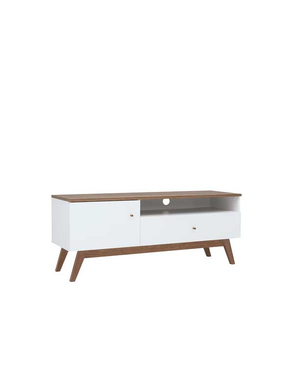 table tv heda 1porte 1tiroir meleze et blanc brillant