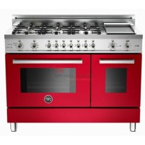 Bertazzoni professional series 48 6-burner, electric double oven. This super-wide range has a cooktop with six gas burners, including a dual-ring power burner, high-efficiency burner with separately controlled flames, and a stainless-steel electric griddle. The main electric oven has nine functions, from convection, baking and roasting to warming and includes telescopic glide shelves. The pyrolytic oven linings requires no cleaning agents. High temperatures burn off fat and grease leaving a safe, easily disposed of residue. The useful auxiliary oven, without fan, has four modes. Quadruple-glass doors minimise heat loss. http://www.taappliance.com/en/catalog/product/157907-Bertazzoni-PRO486GDFSRO?searchterm=Red
