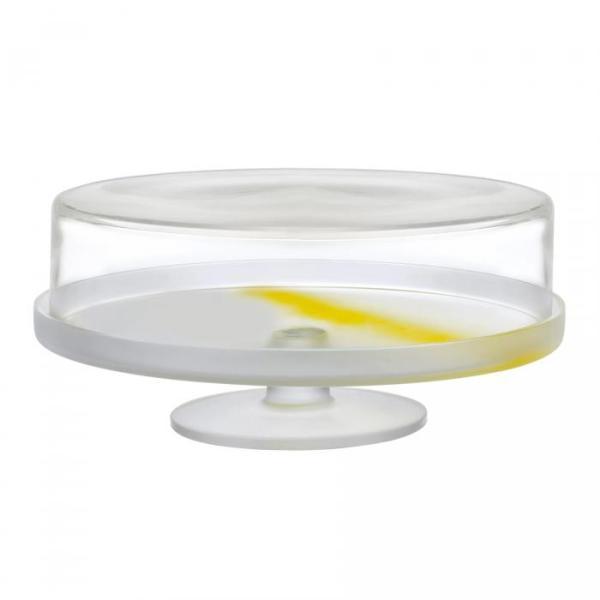 Nude Pigmento Taartplateau met Glazen Stolp, 30cm geel