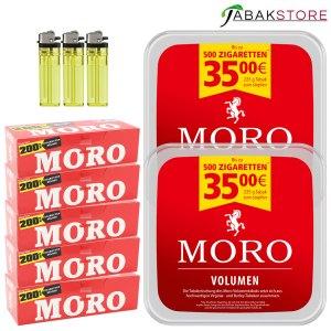 Moro-Tabak-Angebot-mit-Hülsen-&-Feuerzeuge