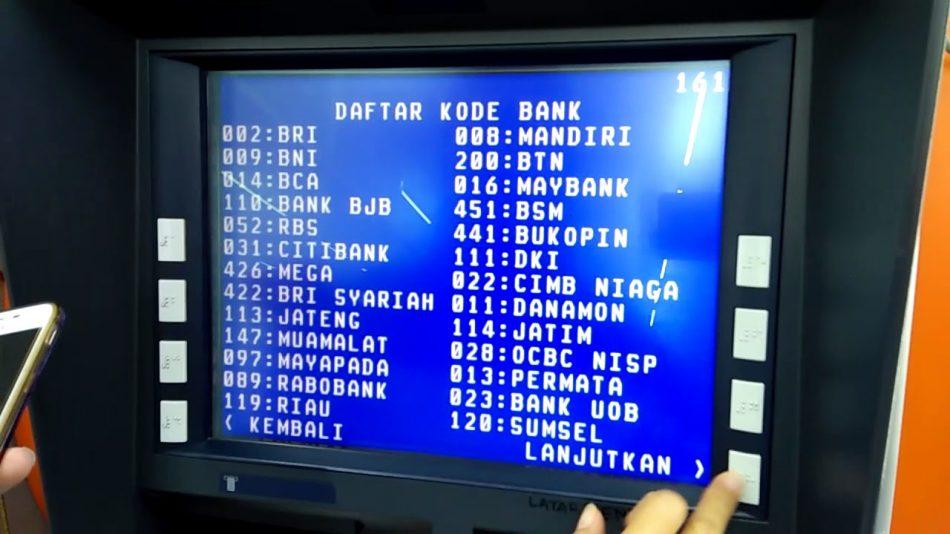 kode bank di atm