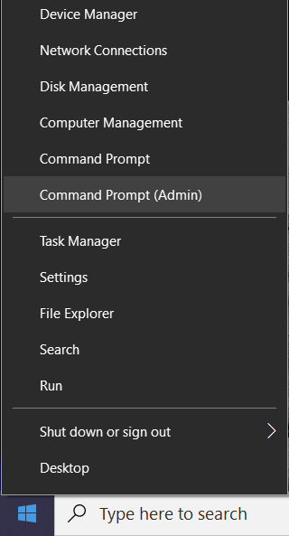 Right-click on Windows Button and select Command Prompt (Admin)