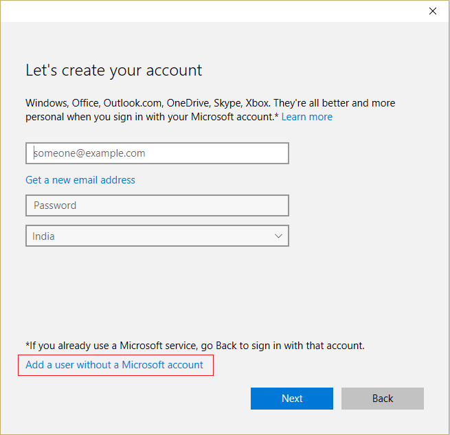 Select Add a user without a Microsoft account