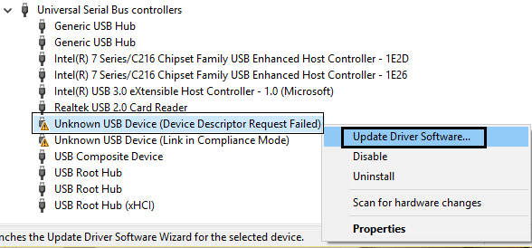 Fix USB Device Not Recognized. Device Descriptor Request Failed