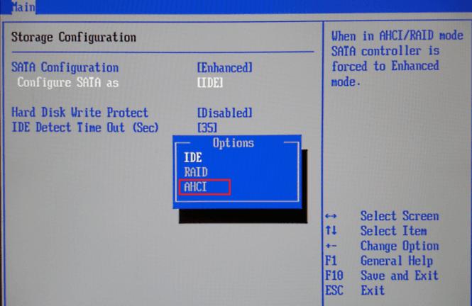 Set SATA configurationto AHCI mode