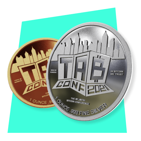 Rendering of silver and copper TABCOnf challenge coins
