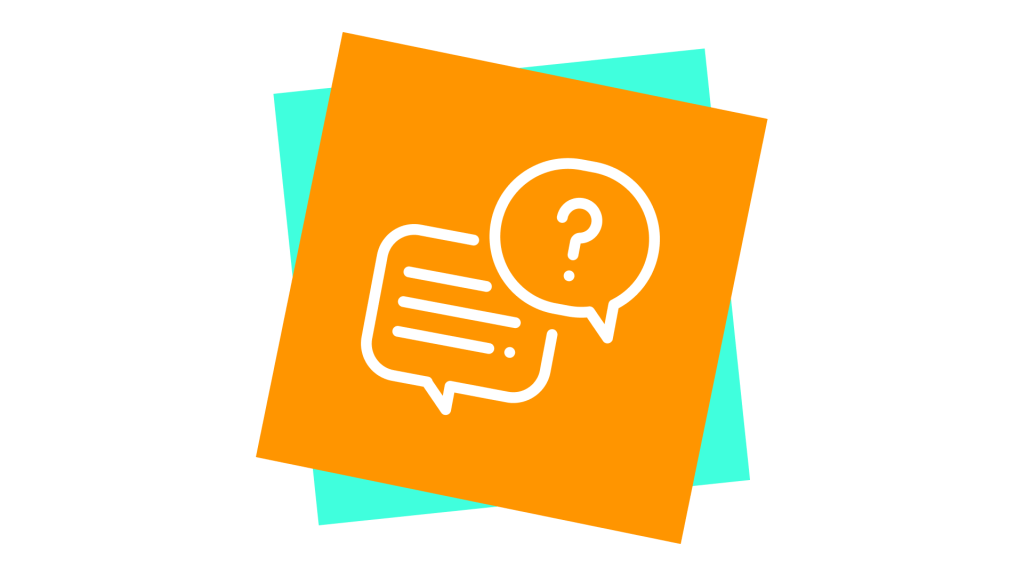 Artwork of a speech bubble and question mark
