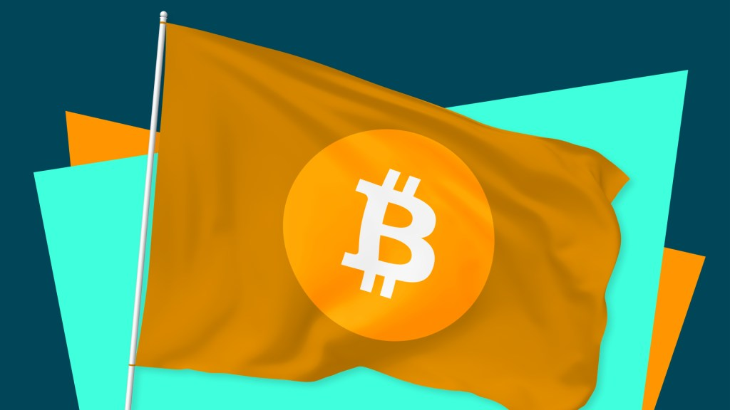 Rendering of a flag with the Bitcoin logo