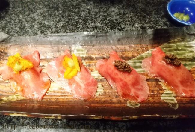 和牛のお寿司。ウニとトリュフが乗ってます。