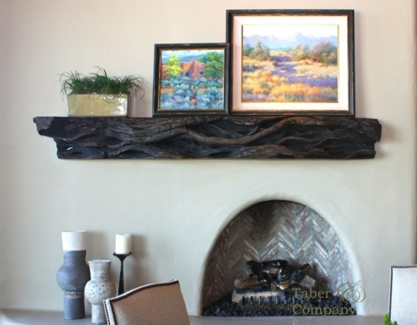 Custom made wood mantel for desert highland