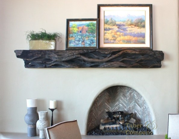 Custom made wood mantel for desert highland