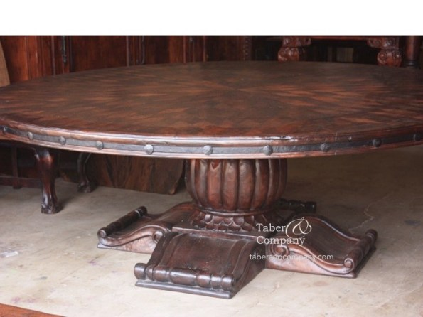 massive round dining table, furniture for mountain homes, wood pedestal table, big sky yellowstone montana wyoming custom homes furniture, mountain living, western architecture furniture