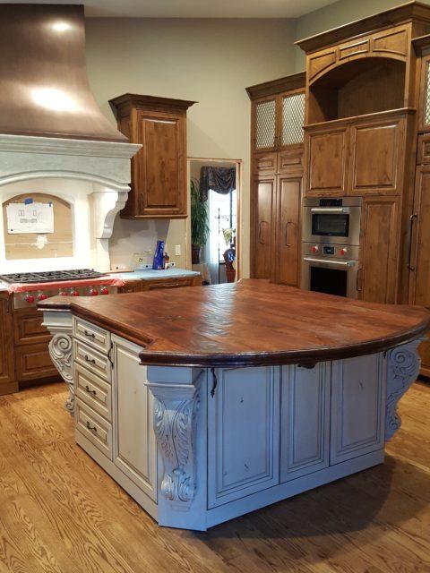 wood countertop, kitchen island, blue kitchen, painted cabinets, fresh kitchen, hardwood countertop, santa barabra style, rustic wood countertop