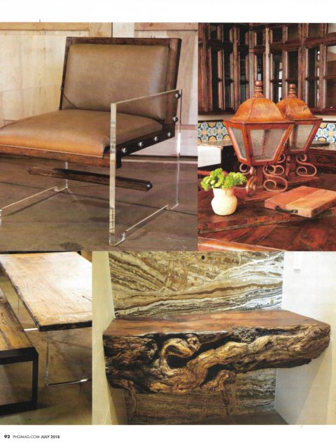 furniture collection lucite, reclaimed wood and natural edge table