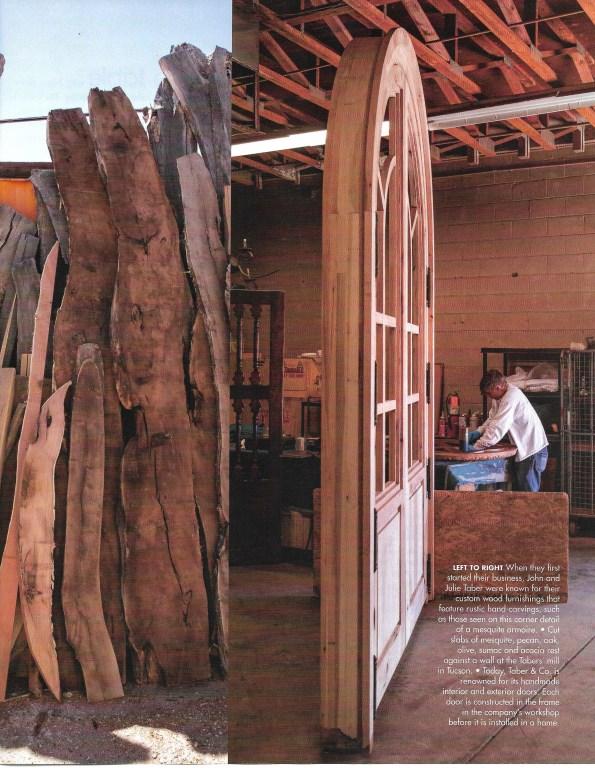 Custom wood doors, furniture, massive wood slabs