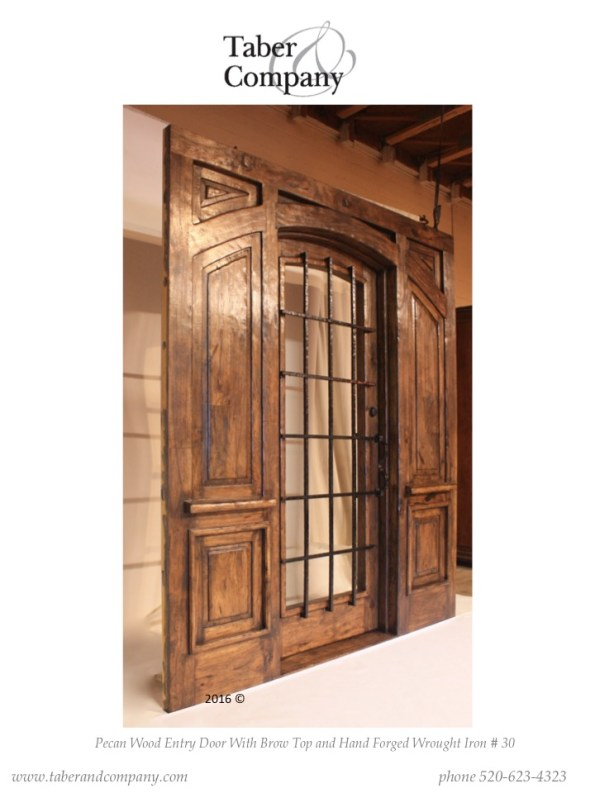 Wide wood entry door with glass. Wooden single entry door with side panel.