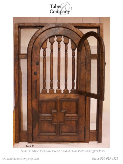 spanish mediterranean style arched door with side lights. hacienda style door with window and sidelites.