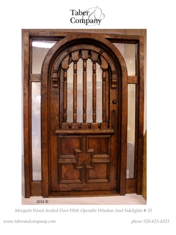 spanish mediterranean style arched door with sidelights. hacienda style door with window and sidelites.