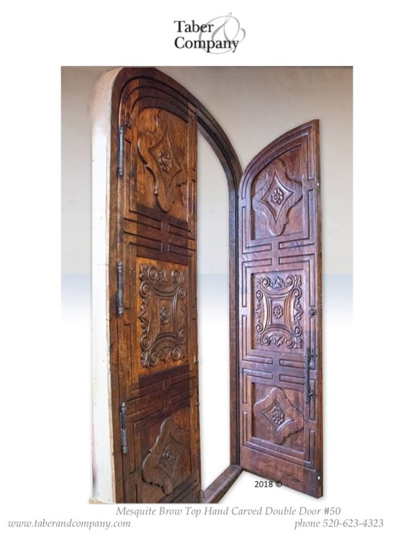 31 massive 10' mesquite wood carved arched double door mediterranean