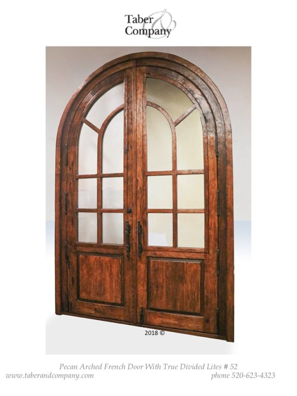 """massive 120"""" true arch double door with divided lights. Traditional style arched top 10' double door with glass."""