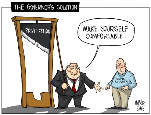 "The Governor's Solution - ""But our budget is in the black!"" (Fun Fact: The Word is ""Privatization."" Seems it slipped through my notice and that of my editor, the copy editor, and anyone else in the production staff--oops!)"