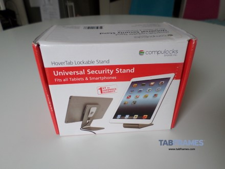 Front of box for retail version of HoverTab, universal security mount for tablets