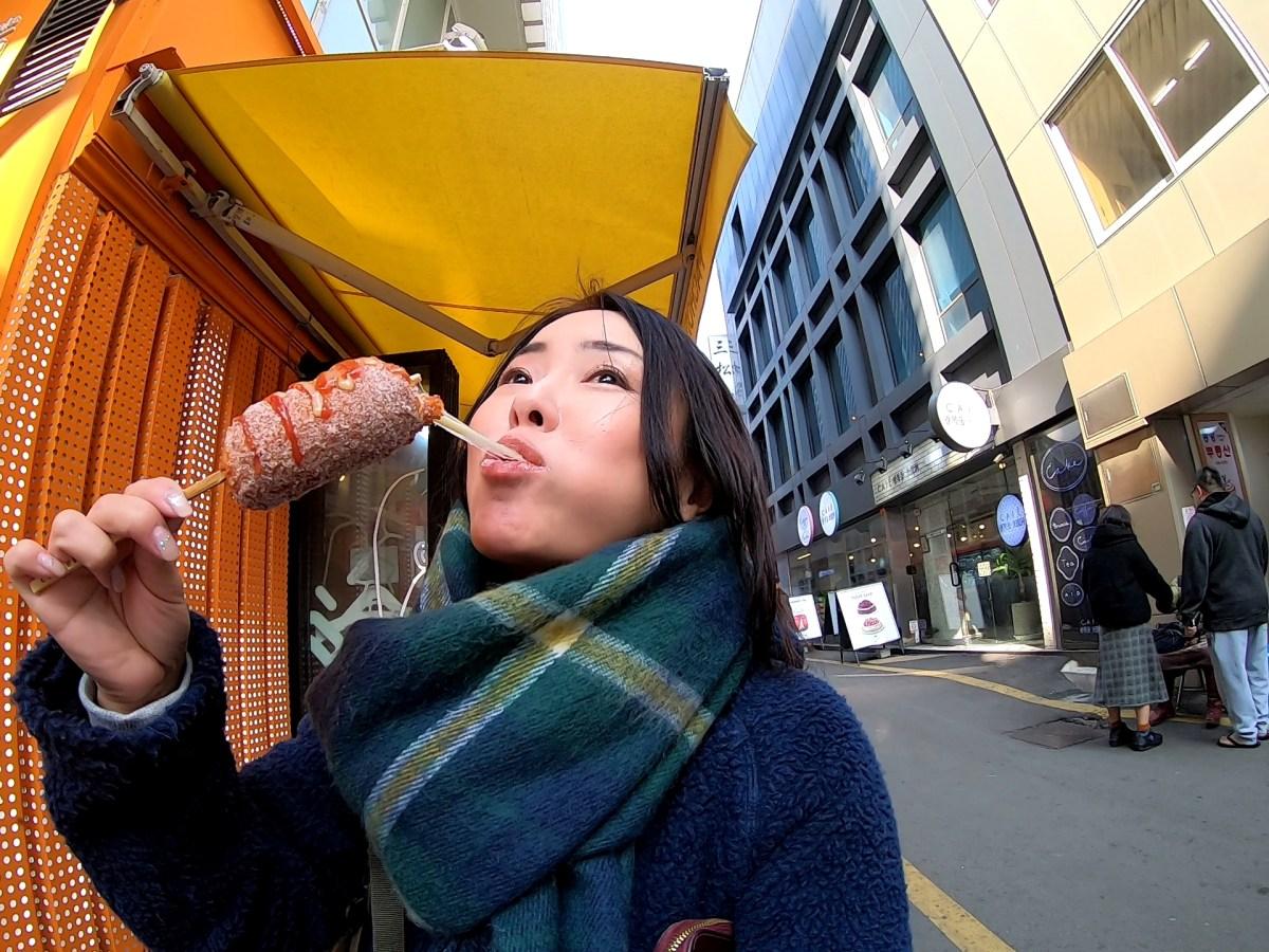 韓国のB級グルメのび〜るチーズが話題【チーズホットドッグ(チーズハットグ)】を釜山で食べてきた!