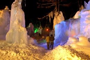 秋神温泉・氷点下の森ライトアップ