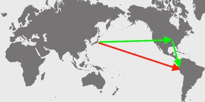 アクセスを矢印で入れた世界地図