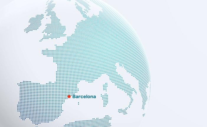 バルセロナの位置が分かる世界地図