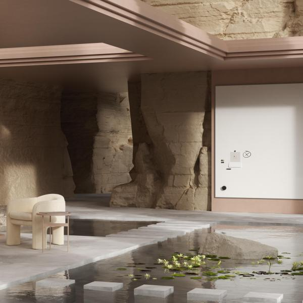 Modern area with water surrounding floor and walls made of rock