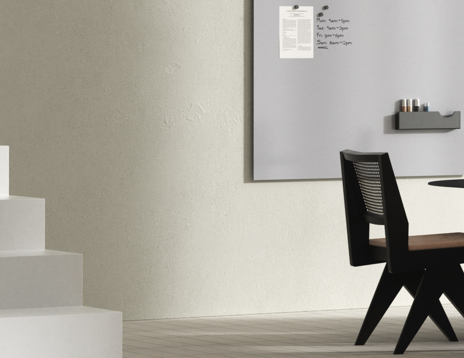 Gray modern whiteboard with marker writing and accessory holder