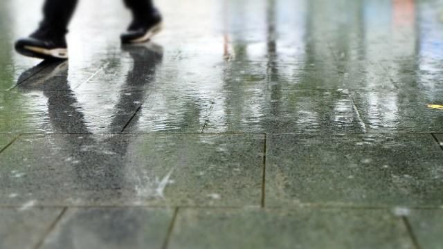 雨でぬれた男性の靴