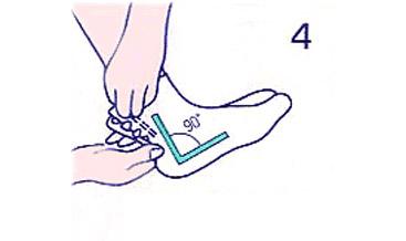 つま先を少し上げ、脚と底面が90°ぐらいになるようにして、コハゼを下から上へかけます。