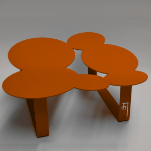 Table basse design cloudy orange