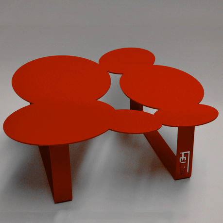 Table basse design cloudy rouge