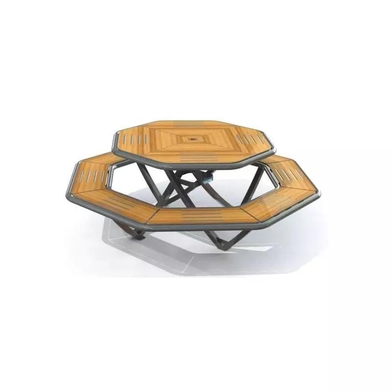 table pique nique octogonale stratifie compact