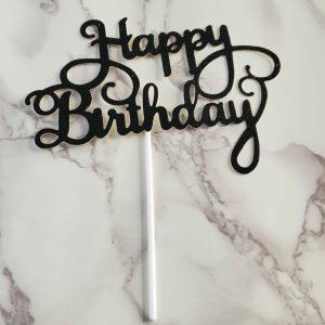 black glitter cake topper
