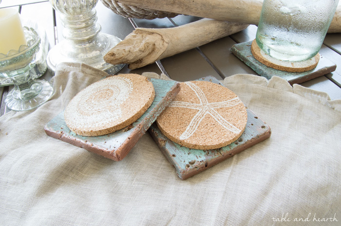 coastal tile coasters copper patina by table and hearth